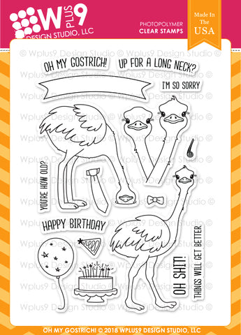 WPlus9 Design Studio - OH MY GOSTRICH Clear Stamps Set