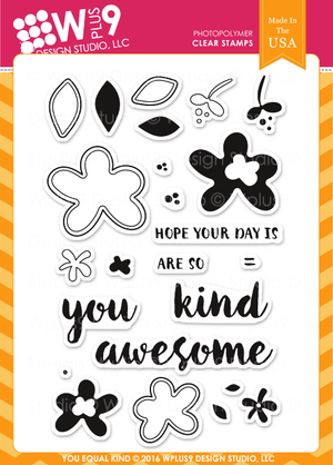 WPlus9 Design Studio - YOU EQUAL KIND Stamp set - Hallmark Scrapbook - 1