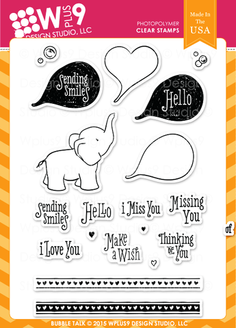 WPlus9 Design Studio - BUBBLE TALK Stamps - Hallmark Scrapbook - 1