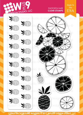 WPlus9 Design Studio - CITRUS BACKGROUND BUILDERS - Clear Stamps Set - 50% OFF!