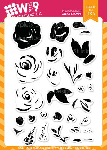 WPlus9 Design Studio - FREEHAND FLORALS Stamp Set - Hallmark Scrapbook - 1