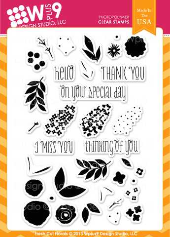 WPlus9 Design Studio - FRESH CUT FLORALS Stamps - Hallmark Scrapbook - 1