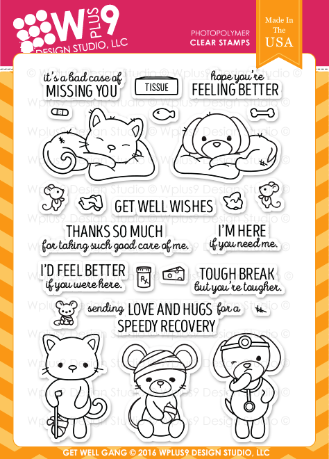 WPlus9 Design Studio - GET WELL GANG Stamps set