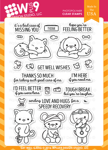 WPlus9 Design Studio - GET WELL GANG Stamps set - Hallmark Scrapbook - 1