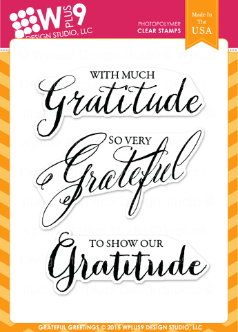 WPlus9 Design Studio - GRATEFUL GREETINGS Stamps - Hallmark Scrapbook - 1
