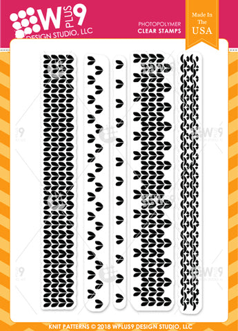 WPlus9 Design Studio - KNIT PATTERNS Stamps