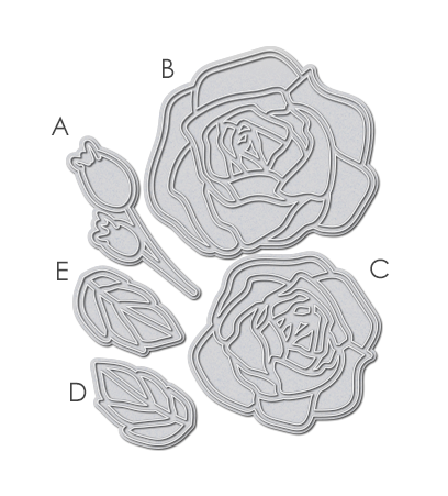 WPlus9 Design Studio - OUTLINED ROSES Die set - Hallmark Scrapbook - 1