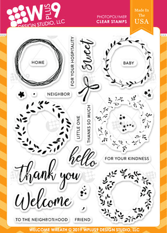 WPlus9 Design Studio - WELCOME WREATH - Stamp Set