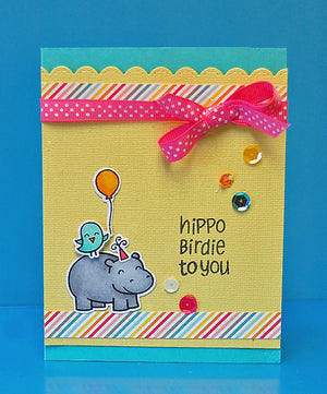 Lawn Fawn - Year Four- Hippo Birdie to you- CLEAR STAMPS 6 pc - Hallmark Scrapbook - 4