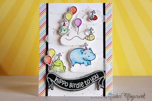 Lawn Fawn - Year Four- Hippo Birdie to you- CLEAR STAMPS 6 pc - Hallmark Scrapbook - 7