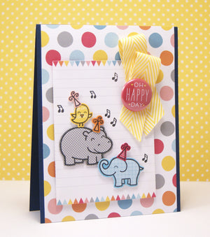 Lawn Fawn - Year Four- Hippo Birdie to you- CLEAR STAMPS 6 pc - Hallmark Scrapbook - 8