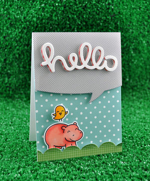 Lawn Fawn - Year Four- Hippo Birdie to you- CLEAR STAMPS 6 pc - Hallmark Scrapbook - 6