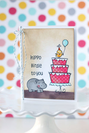 Lawn Fawn - Year Four- Hippo Birdie to you- CLEAR STAMPS 6 pc - Hallmark Scrapbook - 3