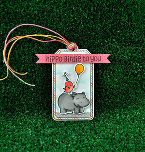 Lawn Fawn - Year Four- Hippo Birdie to you- CLEAR STAMPS 6 pc - Hallmark Scrapbook - 5