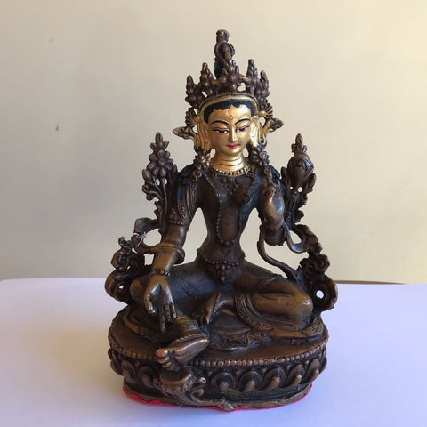 Green Tara 6.5 Inch Copper Statue with Painted Gold Face