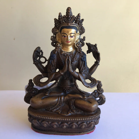 Chenrezig 6.5 Inch Copper Statue with Painted Gold Face