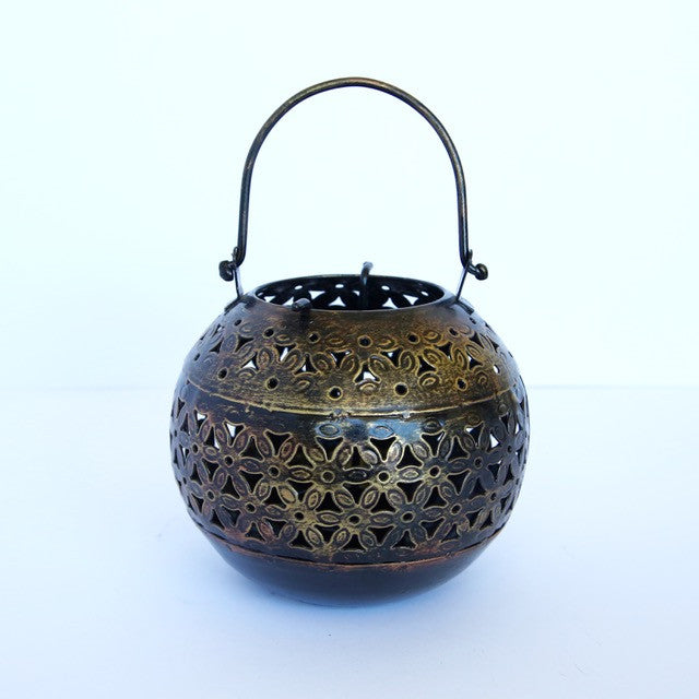 Sphere-Shaped Copper Candle Holder (tealight)