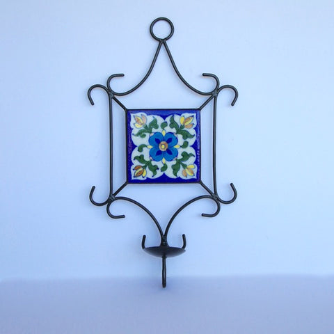Candle Wall Hanging of Iron and Tile - single tealight