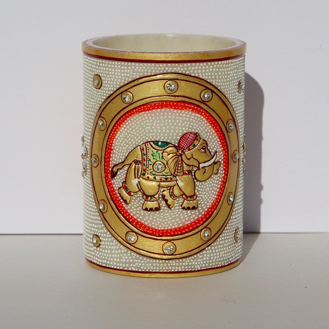 Marble Container with Painted Elephant