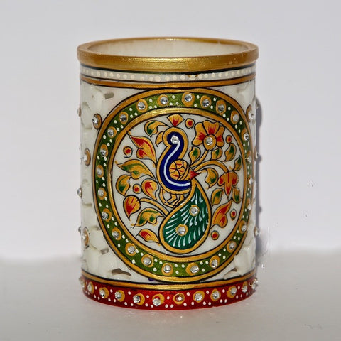 Marble-Cut Container with Painted Peacock