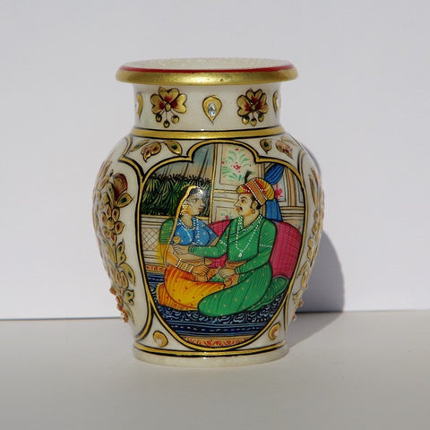 Marble Lota - painted (water pot/vase)