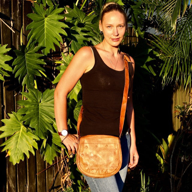 Camel Print Leather Shoulder Bag