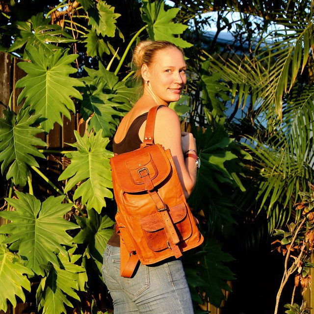 Leather Day Backpack