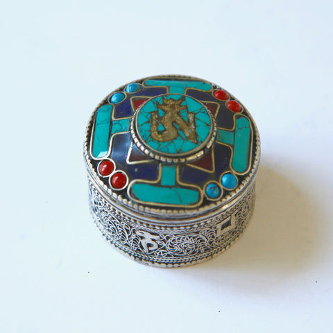 Tibetan Turquoise Round Metal Box with AH