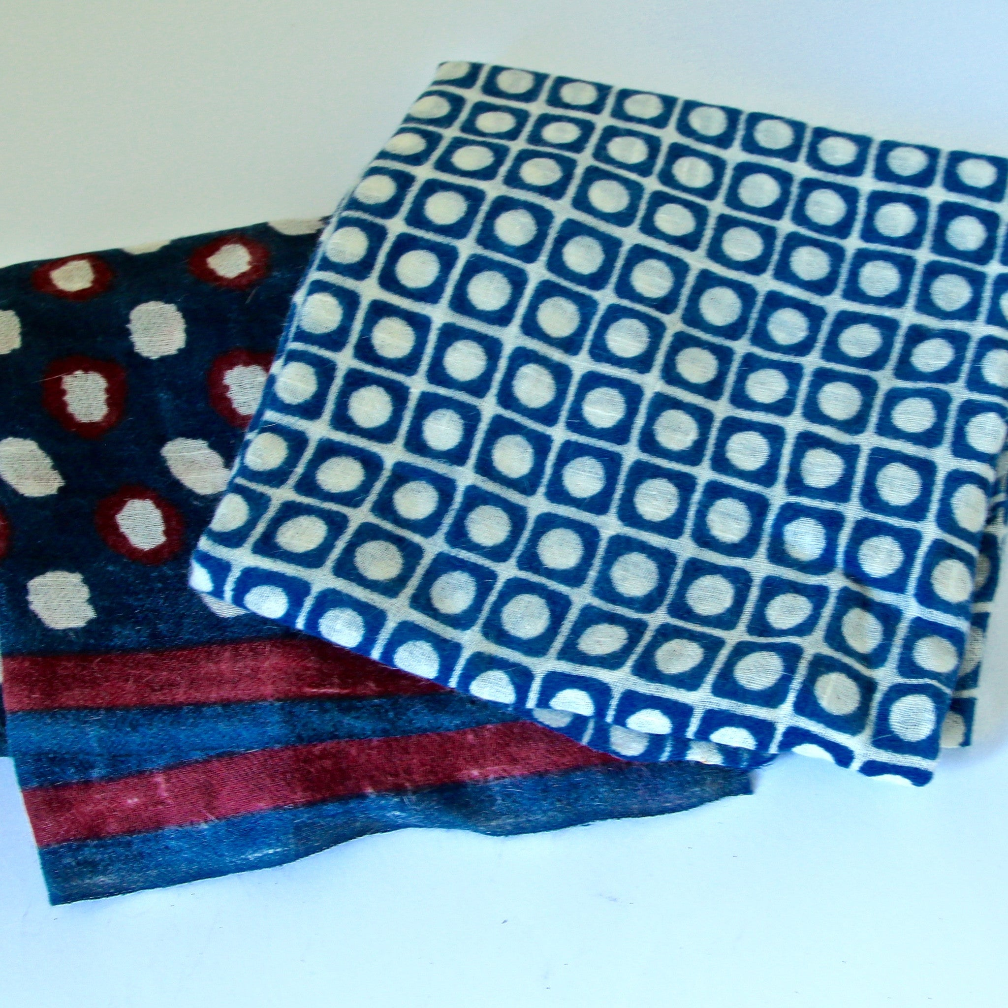 Ladakhi Pashmina/Wool Shawls - Blue Square Dot and Blue with Red and White Dot