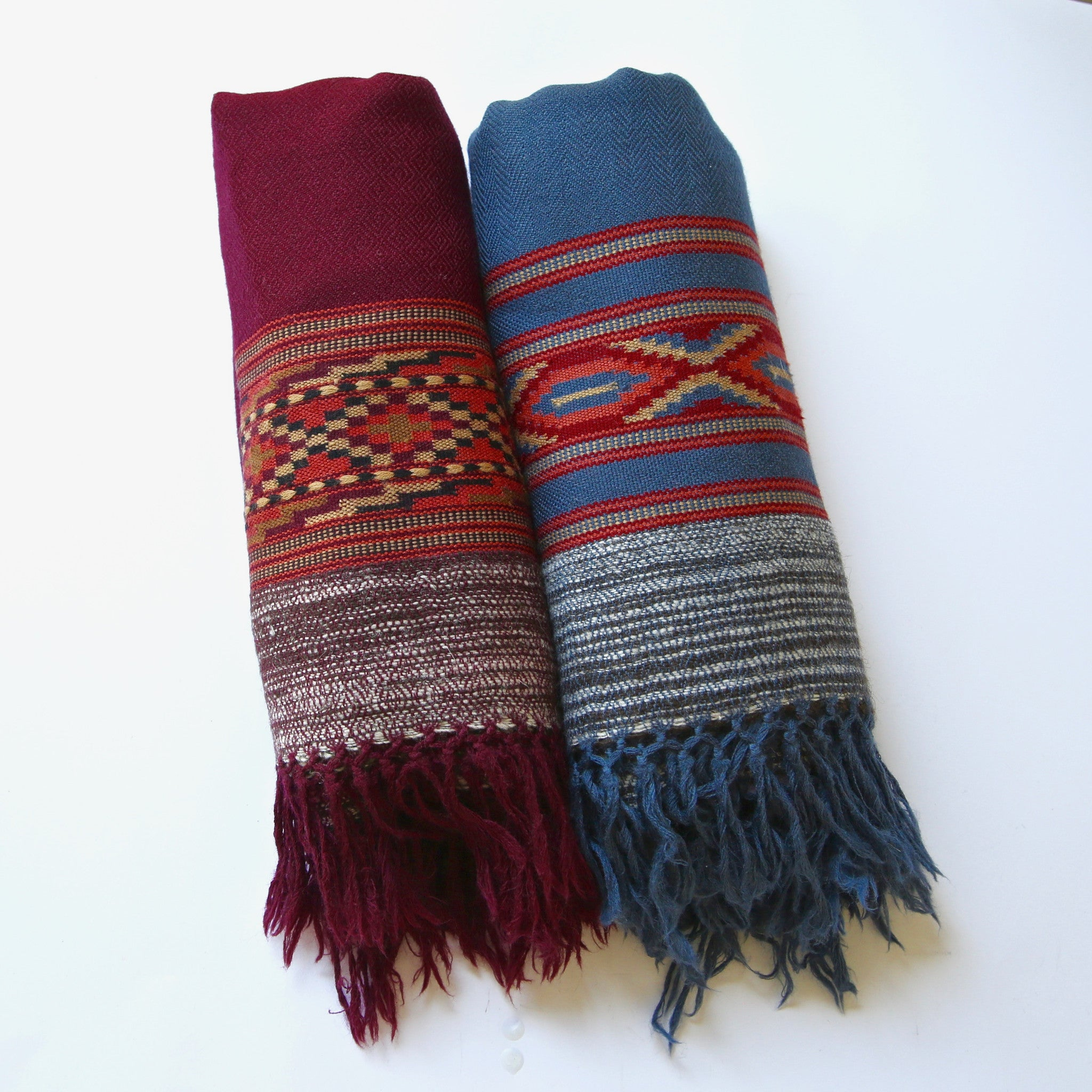 Kullu Wool Shawls - Traditional Large Border