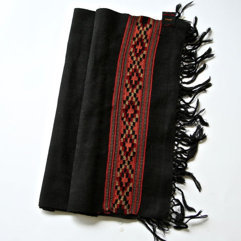 Kullu Wool Scarf - Traditional Black