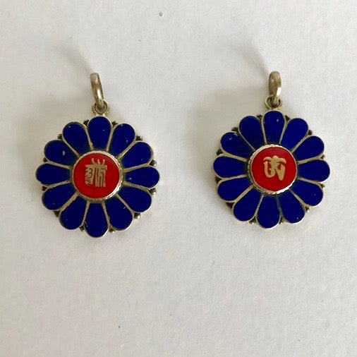 Lapis Flowers with Tibetan Om or Kalachakra Pendants