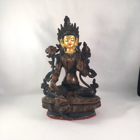 Green Tara 8.25 Inch Copper Statue with Painted Gold Face