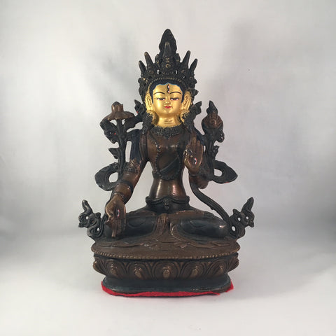 White Tara 8.25 Inch Copper Statue with Painted Gold Face