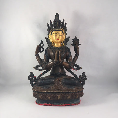 Chenrezig 8.25 Inch Copper Statue with Painted Gold Face