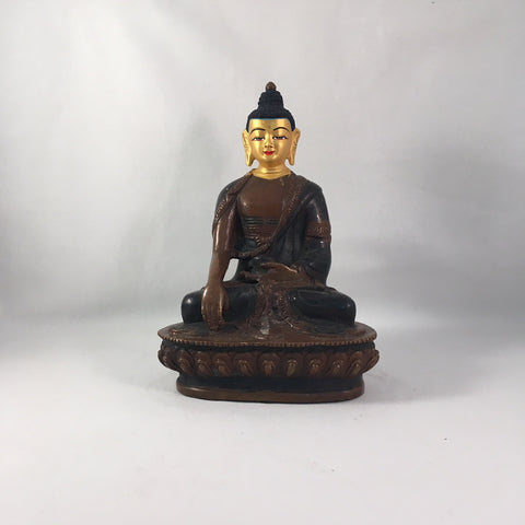 Buddha 6 Inch Copper Statue with Painted Gold Face