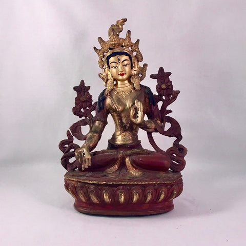 White Tara 6.5 Inch Copper Statue with Painted Gold Face