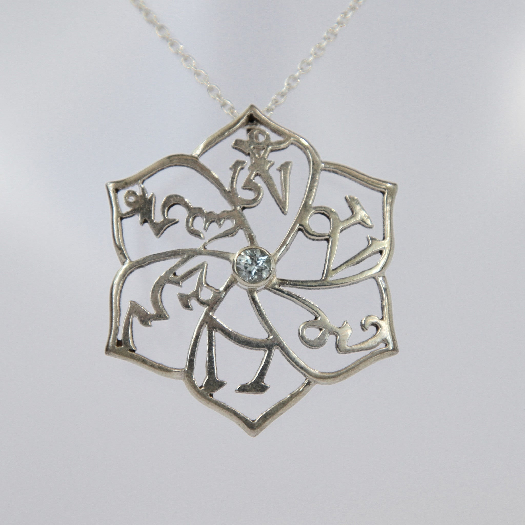 Pure Silver OM MANI PADME HUNG Necklace - Sacred Treasures