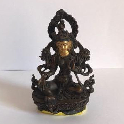White Tara 3 Inch Copper Statue with Painted Gold Face