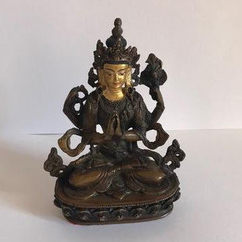 Chenrezig 3 Inch Copper Statue with Painted Gold Face