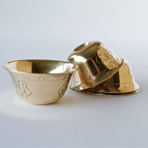 Brass Offering Bowl Sets - Patterned