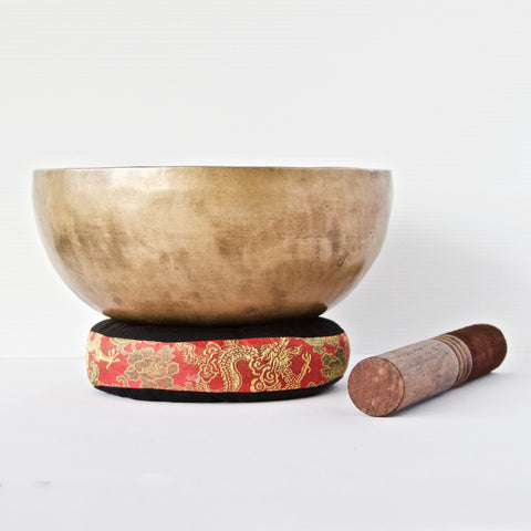 Traditional Plain Singing Bowl with Deity Etched Inside