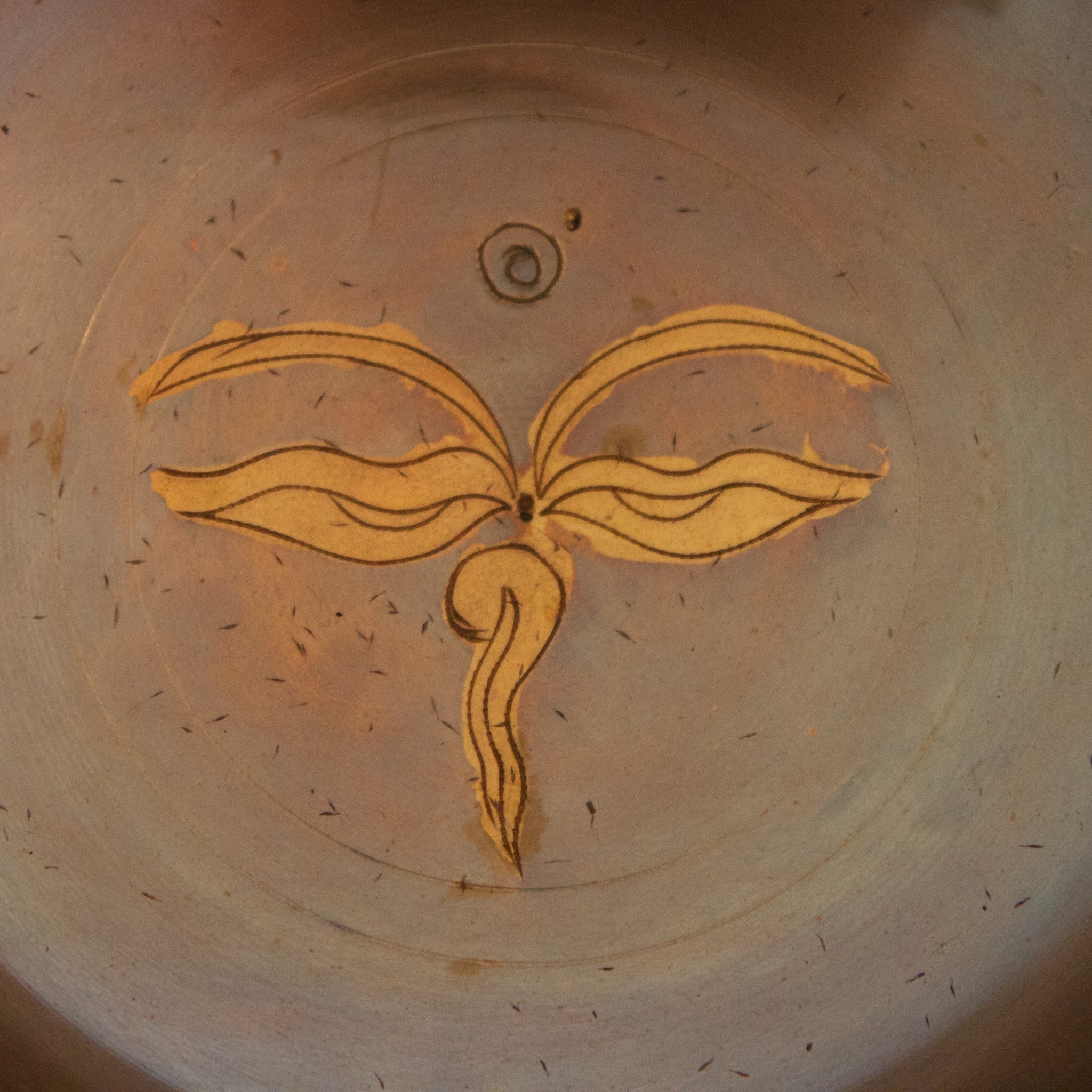 Stylised Bronze Singing Bowl with lotus flower or buddha eyes detail
