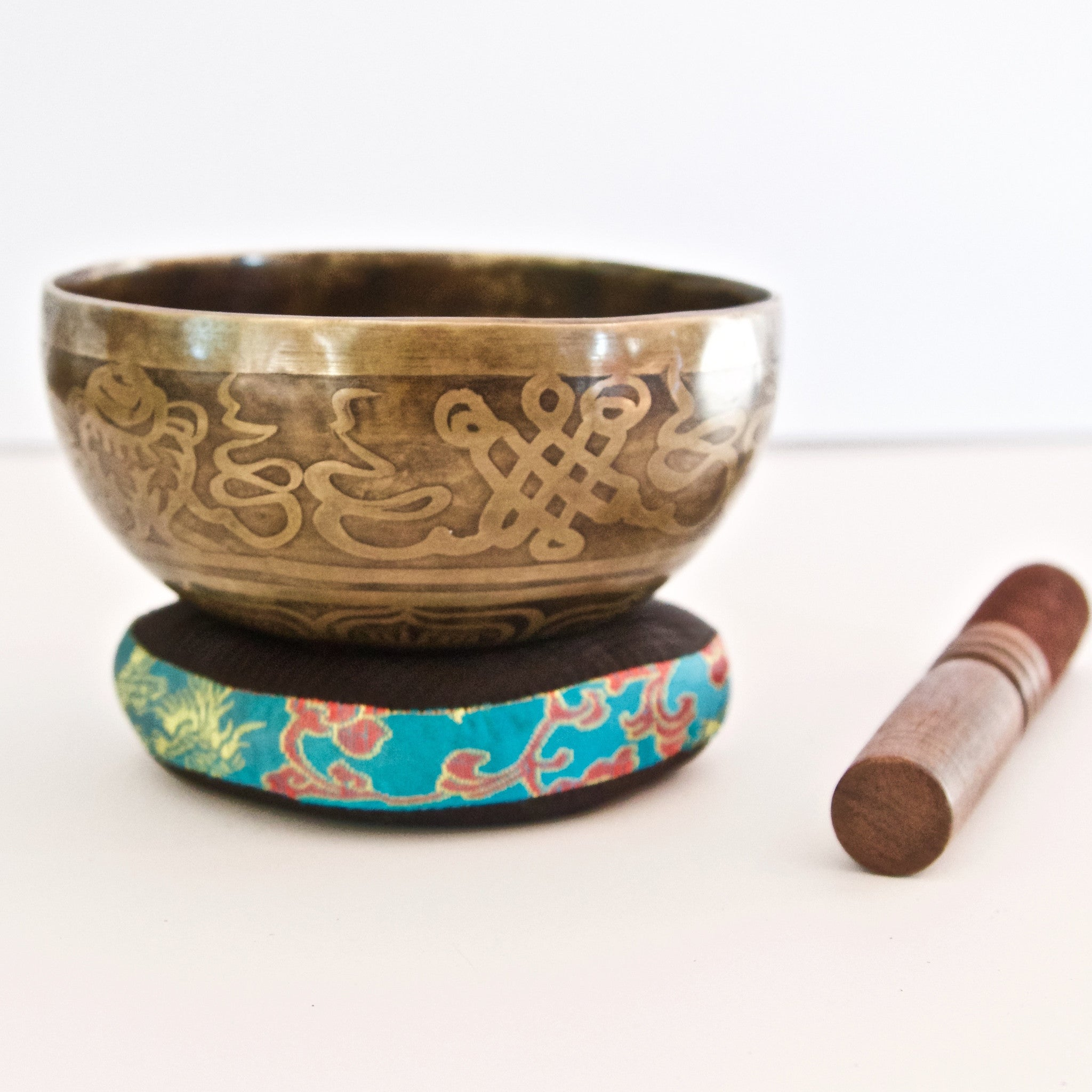 Hand Hammered Singing Bowl with 8 Auspicious Symbols in Calligraphy Style