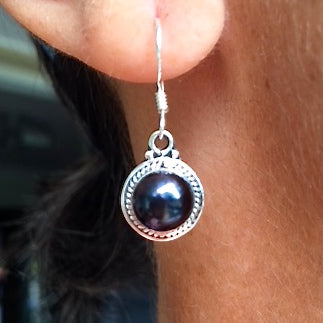 Sterling Silver with Semi-Precious Pearl Drop Earrings
