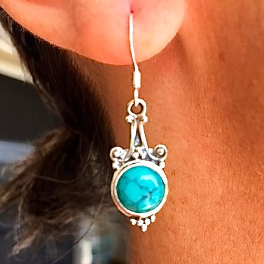 Sterling Silver Raindrop with Semi-Precious Stone Drop Earrings