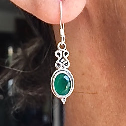 Sterling Silver  Dewdrop with Semi-Precious Stone Drop Earrings
