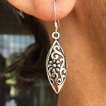 Sterling Silver Flowerboat Drop Earrings