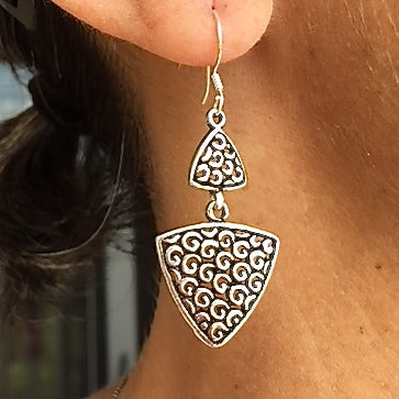Sterling Silver Triangle Drop Earrings
