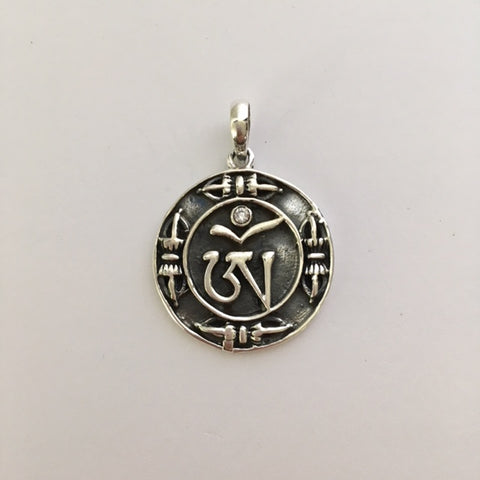 "Sterling Silver Tibetan ""OM"" Round Pendant"